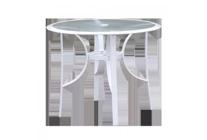 Mesa redonda de terraza en aluminio Blanco, transparente