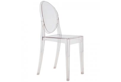 Set de 4 sillas de diseño con estructura de policarbonato transparente