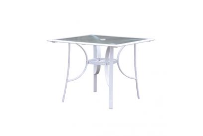 Mesa fija de terraza en aluminio Blanco, transparente