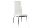 Set de 4 sillas en polipiel color blanco con estructura metálica lacad