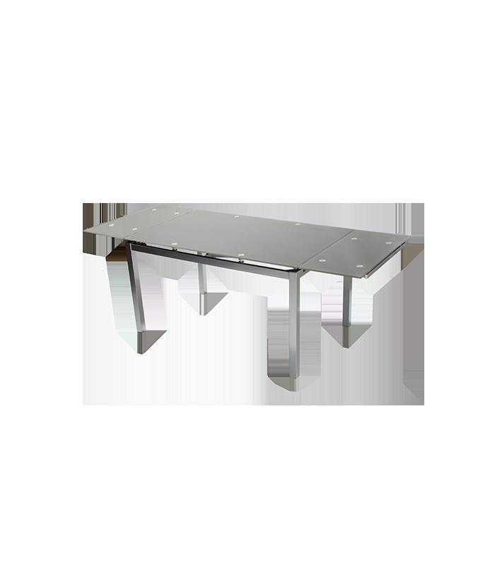Mesas de comedor liquidatodo mesa extensible con for Mesa cristal gris
