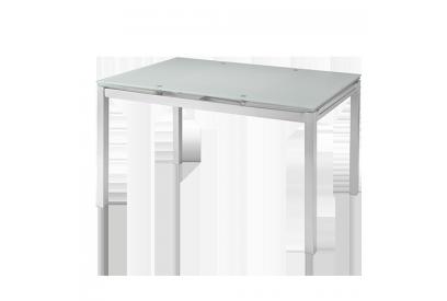 Mesa extensible con encimera de cristal blanco y estructura metálica lacada