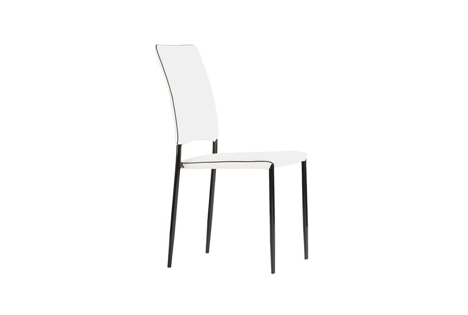 Set de 4 sillas en polipiel color blanco con bordón negro