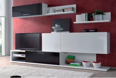 Salón blanco y negro con estilo moderno
