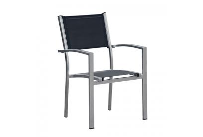 Set de 4 sillas de jardín de aluminio Gris plata, negro