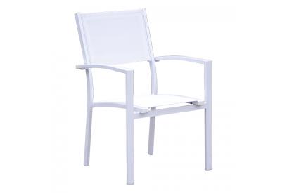 Set de 4 sillas de jardín de aluminio Blanco