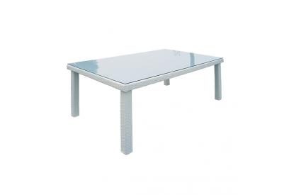 Mesa de jardin en rattan sintético Blanco, transparente