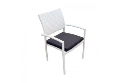 Set de 4 sillas de jardin en rattan sintético Blanco, azul