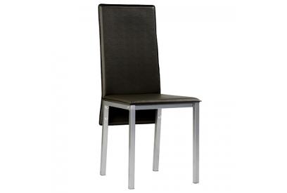 Set de 4 sillas tapizada en ecopiel Negro, plateado