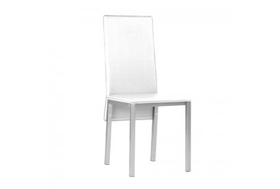 Set de 4 sillas tapizada en ecopiel Blanco, plateado