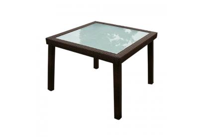 Mesa de jardin en rattan sintético Marrón chocolate, transparente