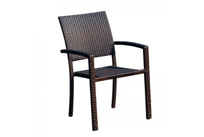 Set de 4 sillas de jardin en rattan sintético Marrón chocolate