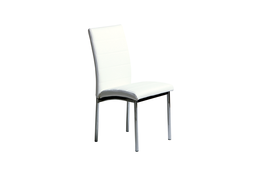 Set de 4 sillas en ecopiel Blanco, plateado Set de 4 sillas