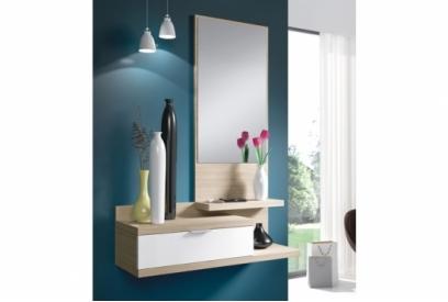 Mueble recibidor Dahlia con espejo nature/blanco