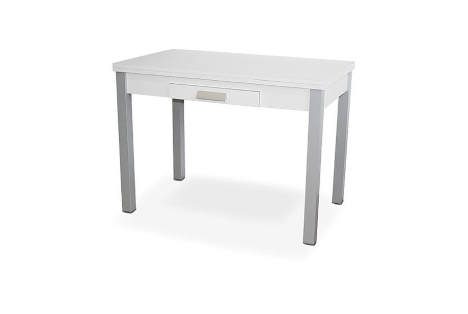 Mesa de cocina extensible con sobre MDF Blanco, gris plata