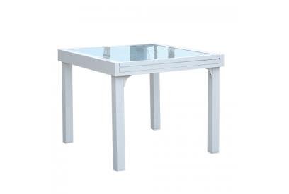 Mesa extendible de jardin en aluminio Blanco, transparente