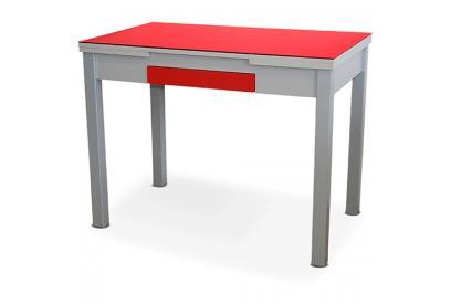 Mesa de cocina extensible Rojo, grey, plateado