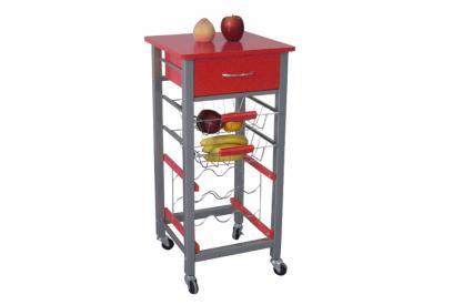 Carro de cocina simple rojo