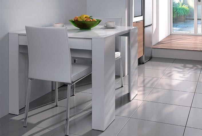 Mesas de comedor liquidatodo mesa consola convertible for Mesa comedor ovalada blanca