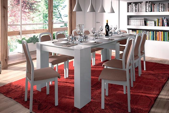 Mesas de comedor liquidatodo mesa consola convertible blanca para comedor - Mesa extensible blanca ...
