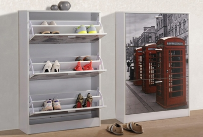 Zapatero London 3 puertas serigrafiado