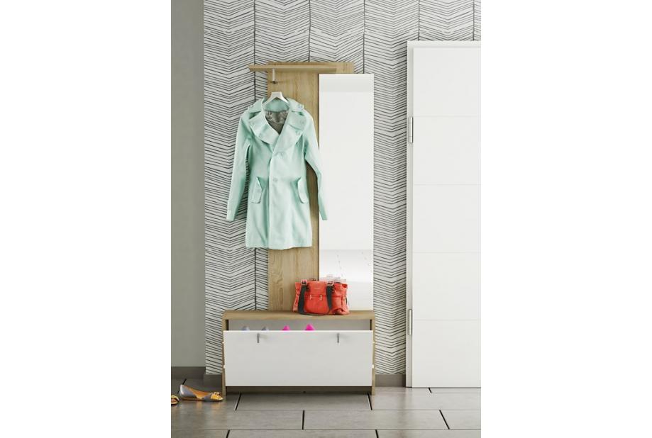 Recibidor con zapatero abatible de 190 x 87 cm para entradas o dormitorios en color roble y blanco