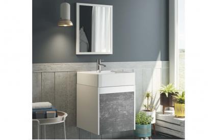 Mueble lavabo acabado blanco/pizarra. Incluye lavabo y espejo. Lavabo cerámico.