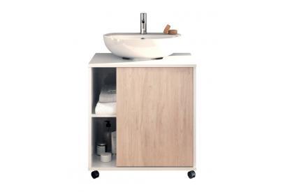 Mueble bajo lavabo acabado blanco/cambrian. Puerta reversible. Mueble para lavabo con pedestal.