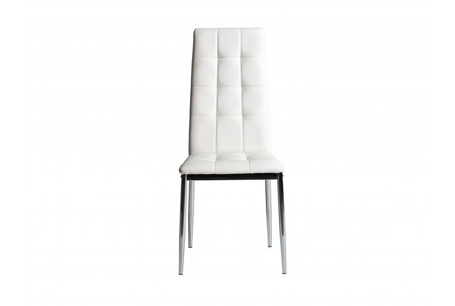 Conjunto 4 sillas en acero cromado y polipiel blanca