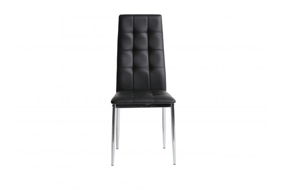Conjunto 4 sillas en acero cromado y polipiel negra
