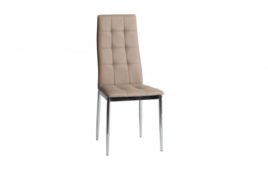 Conjunto 4 sillas en acero cromado y polipiel beige