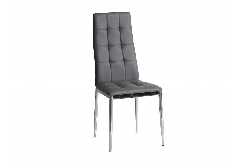 Conjunto 4 sillas en acero cromado y polipiel gris antracita