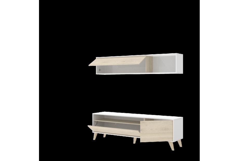 Salón nordico en natural y blanco brillo