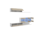 Salón con vitrinas y leds en blanco brillo y natural