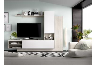 Salón en gris y blanco brillo