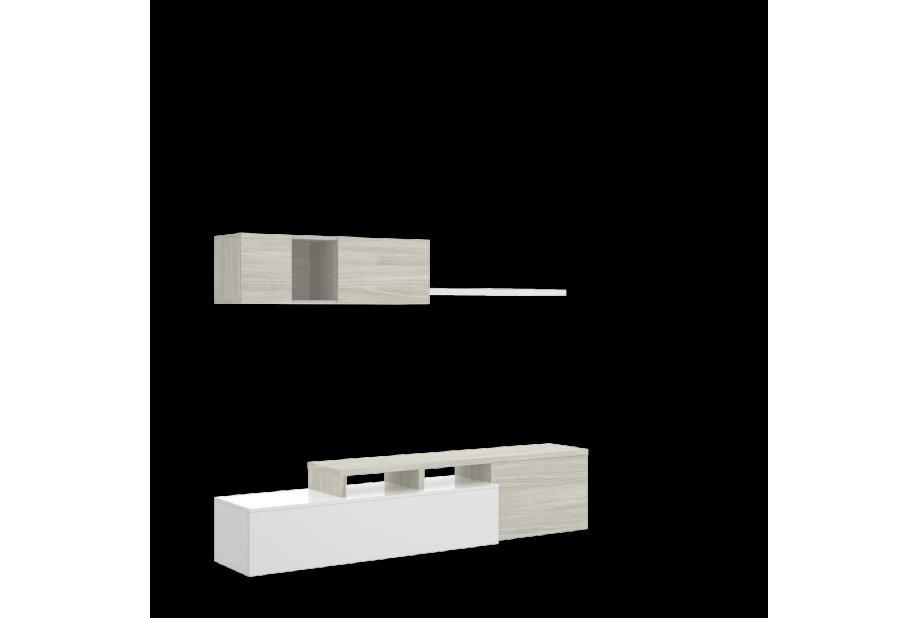 Salón compacto en blanco brillo y gris