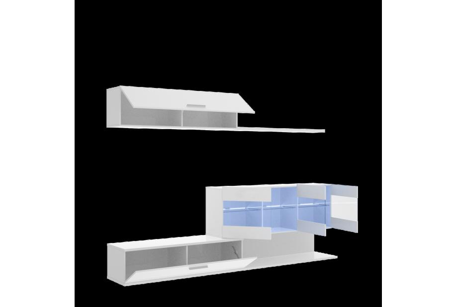 Salón con vitrinas y leds en blanco brillo