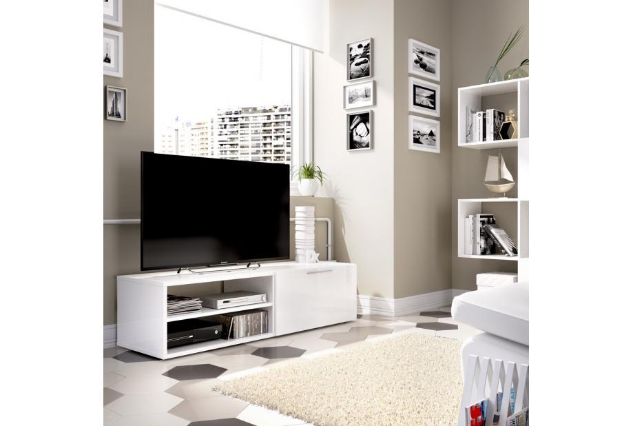 Mueble de tv 131 cm color blanco brillo