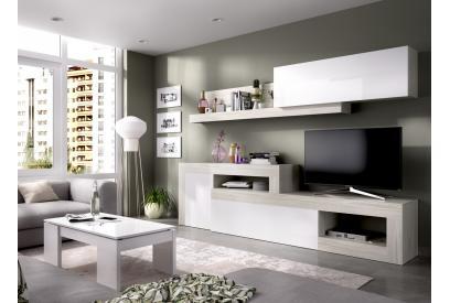 Salón modular de 230 a 300 cm en gris y blanco brillo