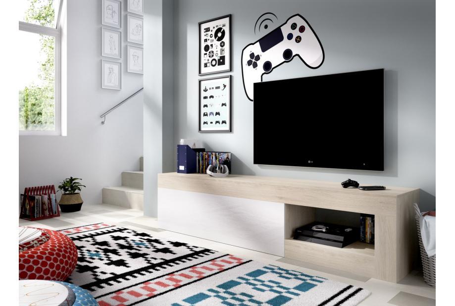 Mueble de tv 204 cm color natural y blanco brillo