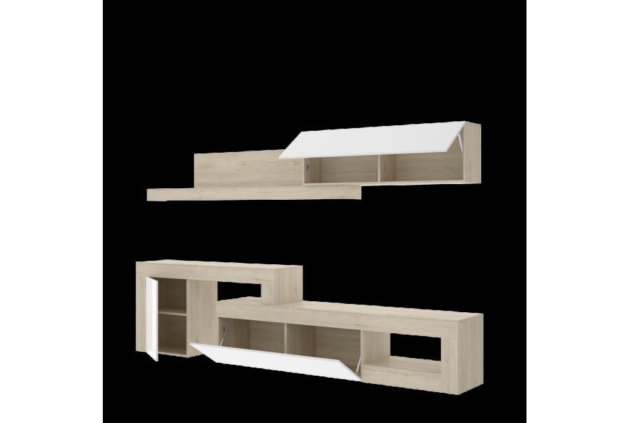 Salón modular de 230 a 300 cm en natural y blanco brillo
