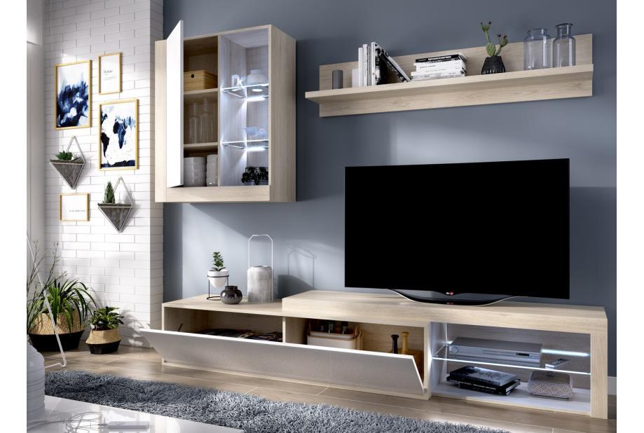 Salón con leds 200 cm color natural y blanco brillo