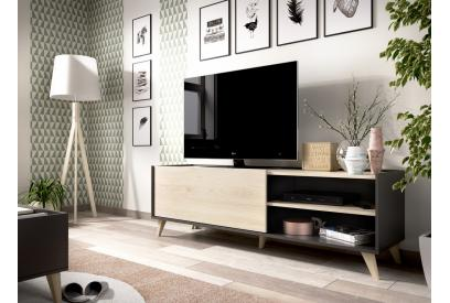 Mueble de tv 155 cm color gris grafito y natural