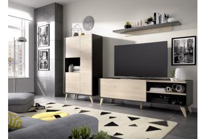 Salón estilo nórdico en gris grafito y natural