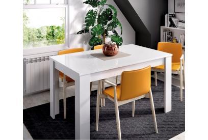 Mesa extensible 90 cm moderna y barata en blanco brillo