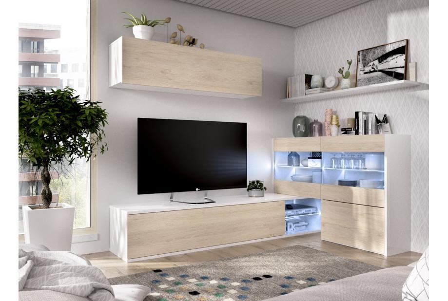 Salón con leds y vitrina modular