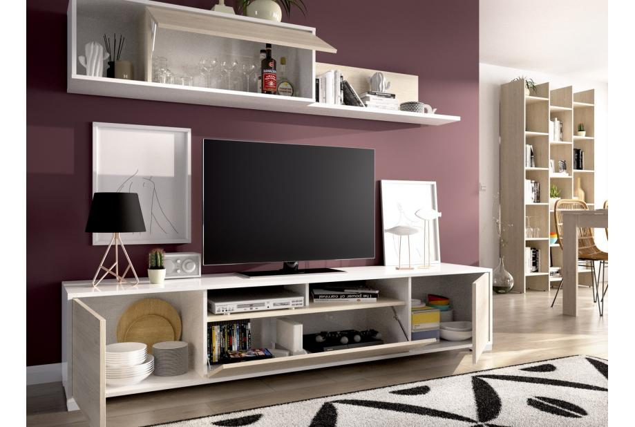 Composición de salón nordico 200 cm color natural y blanco brillo