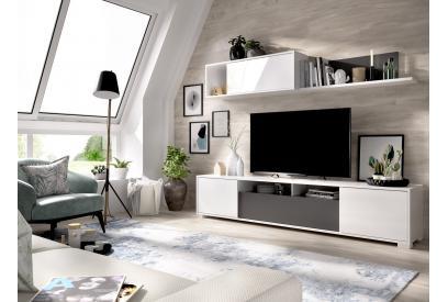 Mueble de salón nordico 200 cm color blanco brillo y grafito