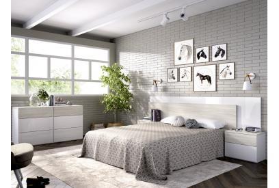 Cabecero y dos mesitas en gris y blanco brillo