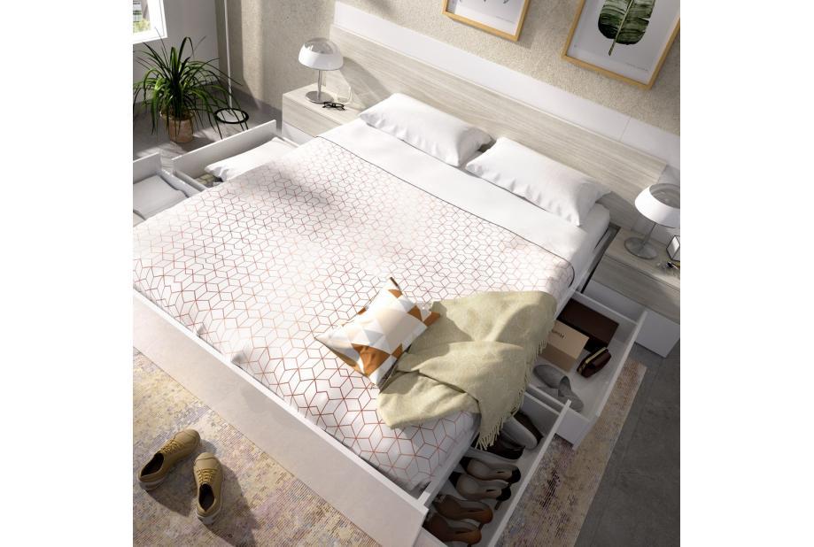 Cama con 4 cajones 160 cm color blanco brillo